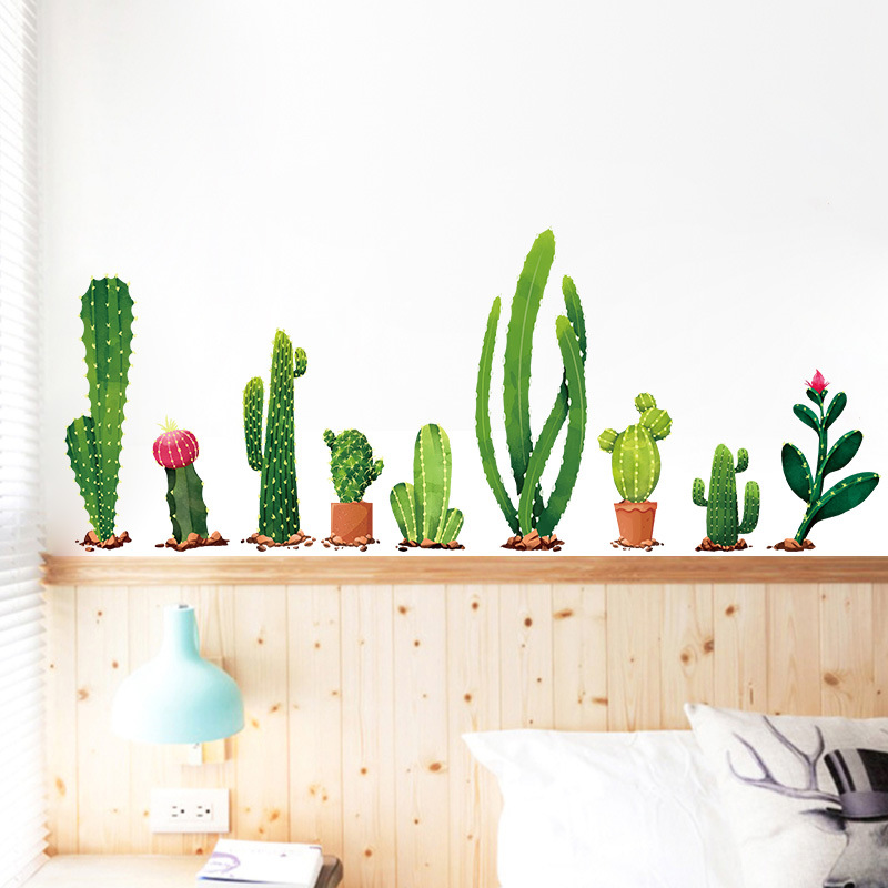 The Cactus Decor Wall Sticker Border Waterproof Removable